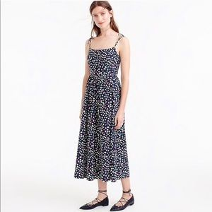 J. Crew Ratti Happy Cat Print Tie-Strap Midi Dress